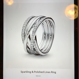 Sparkling and Polished Lines Pandora ring